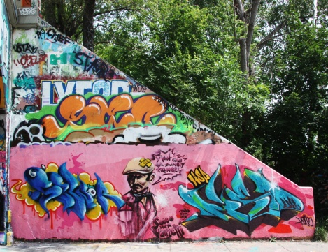 Sewer (bottom left), Axe (character), Fone (bottom right) at the Rouen tunnel legal graffiti walls
