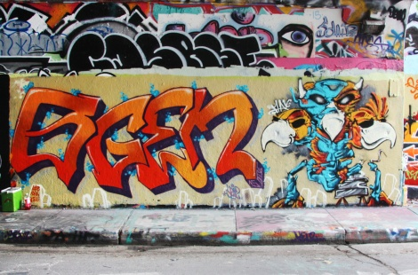 Ogen (left) and Max (right) at the Rouen legal graffiti tunnel