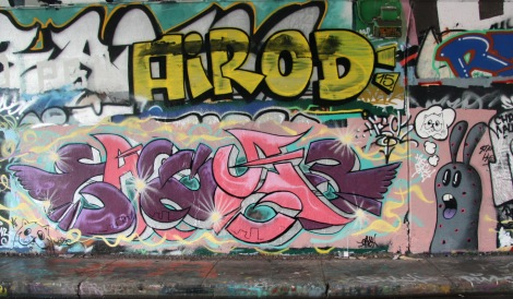 Mr Chose aka Easy3 (left) and Starkey (right) at the Rouen legal graffiti tunnel