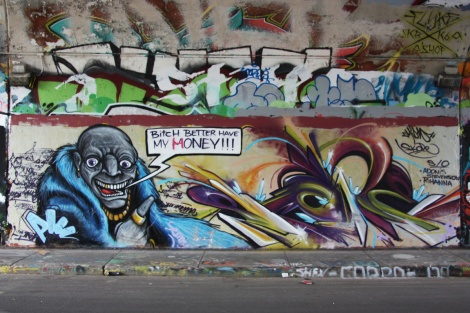 Miow (left) and Skope (right) at the legal graffiti tunnel on de Rouen