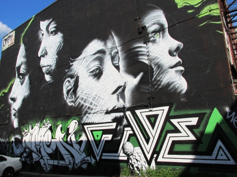 Omen (mural) and Five Eight (letters bottom right) for Mural Festival edition 2013