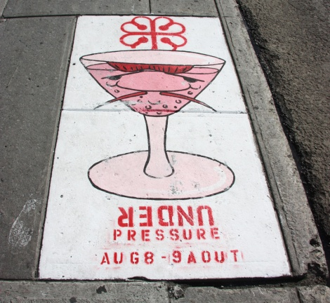 One of Hoarkor's 10 sidewalk promos for the 2015 edition of the Under Pressure Festival