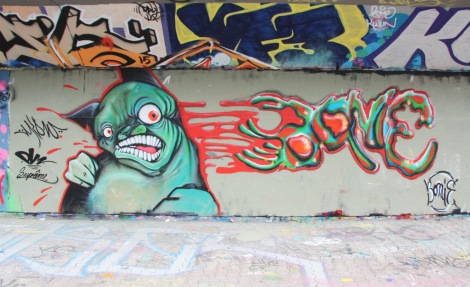 Miow (left) and Bonie (right) at the Rouen tunnel legal graffiti walls
