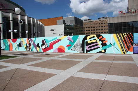 Cyndie Belhumeur and Isabelle Duguay mural for Mu on the Place des Arts esplanade