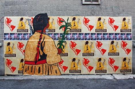Melanie Cervantes, Lianne Charlie, Lindsay Katsitsakatste poster/wheatpaste montage for Decolonizing Street Art 2015