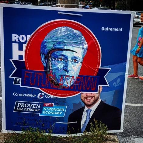 Futur Lasor Now paste-up over electoral billboard; photo © Futur Lasor Now