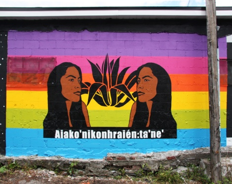 Melanie Cervantes mural for Decolonizing Street Art 2015, with the help of Lindsay Katsitsakatste