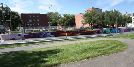 long mural by Zek and Hsix in NDG