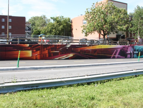 detail of long mural by Zek and Hsix in NDG