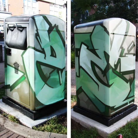 Zek for A'Shop on the city's garbage bins