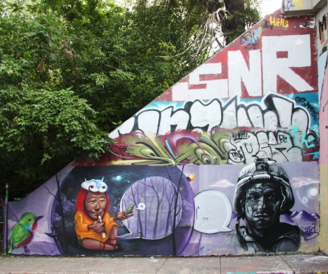 Monk.e, Marian Clem (ground left) and Rouks (ground right) at the Rouen tunnel legal graffiti walls