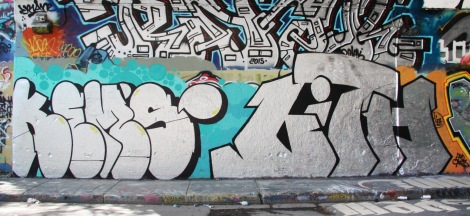 Kems (left) and Lith (right) at the Rouen tunnel legal graffiti walls