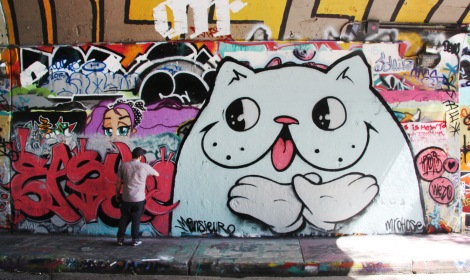 Mr Chose aka Easy 3 at the Rouen tunnel legal graffiti walls