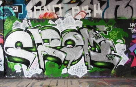 unidentified artist at Rouen legal graffiti tunnel