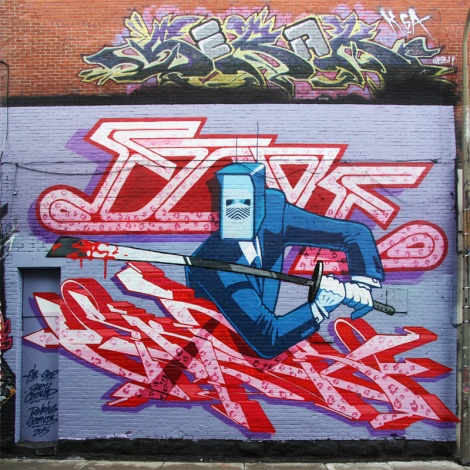 Five Eight (top letters), Earth Crusher (character), Skor (ground letters) for the 2015 edition of the Under Pressure Festival