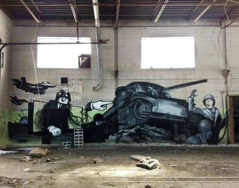 Dré aka Earth Crusher and Five Eight in an abandoned building (left half)