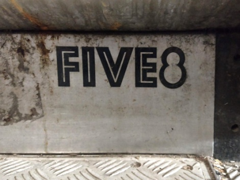 Five Eight sticker found beneath a metro escalator