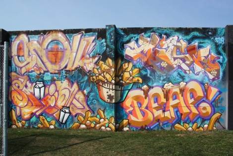 Snok (top left), Mask (top right), Skim (bottom left), Beaf (botton right) at the 2015 Lachine graffiti jam