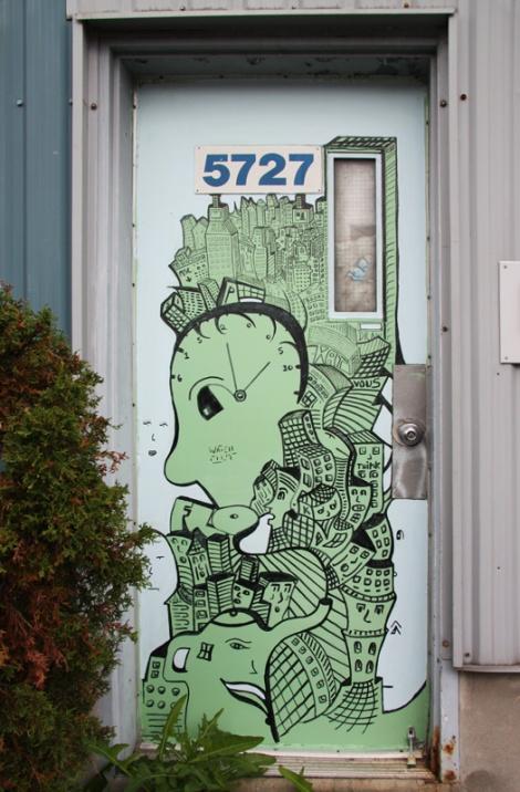 Shane Watt on door in Petite-Patrie