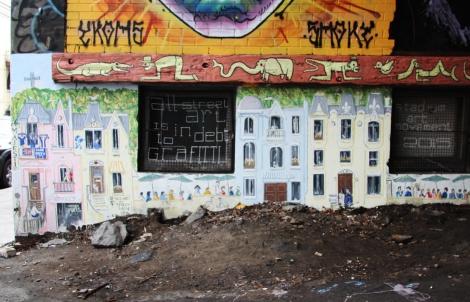 Stadium Art Movement aka Jonathan Himsworth (bottom) and Il Flatcha (on wooden beam), part 1/3