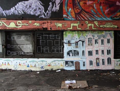 Stadium Art Movement aka Jonathan Himsworth (bottom) and Il Flatcha (on wooden beam), part 2/3