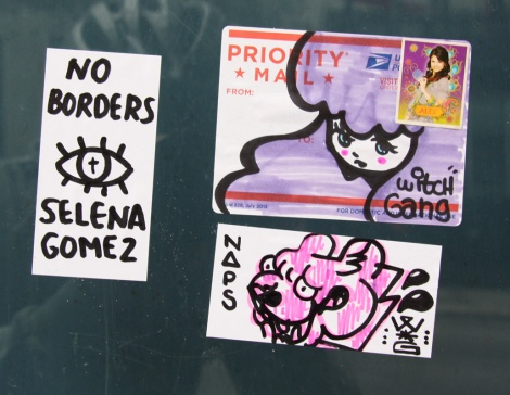 stickers by Stela (top right), Naps (bottom right) and Selena Gomez (left)