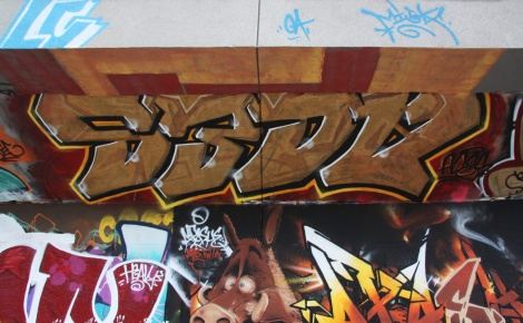 Aces at the PSC legal graffiti wall (yes it was done upside down)