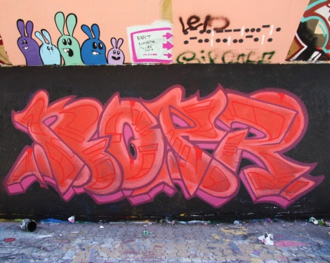 Noper (bottom) and Starkey (top left) at the PSC legal graffiti wall
