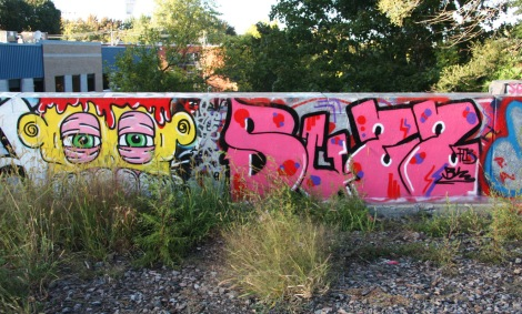 Flavor (left) and Buzz (right) above the Rouen legal graffiti tunnel