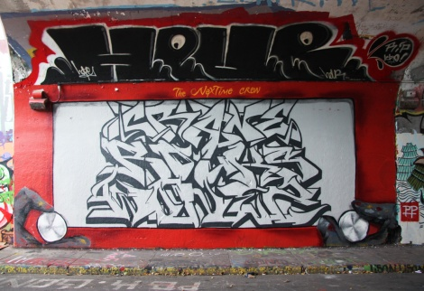 Next Time crew featuring Crane (top), Rouks (middle) and Wonez (bottom) at the Rouen legal graffiti tunnel