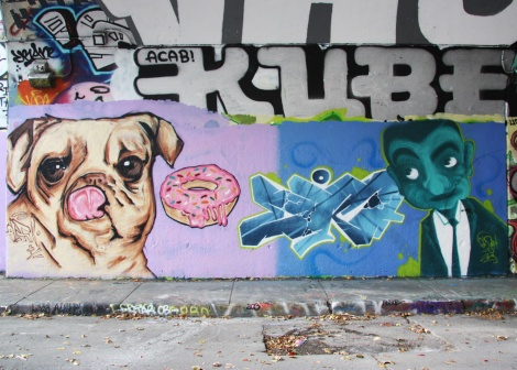 Elfu and EK7 at the Rouen legal graffiti tunnel; above is Kube