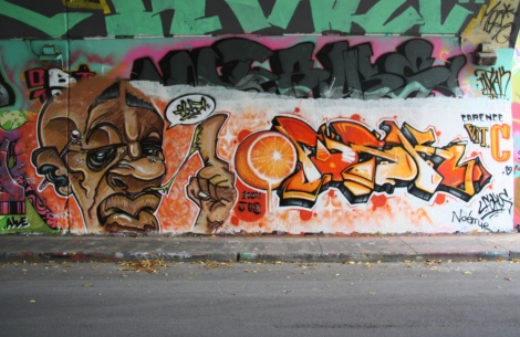Elfu (left) and Fokus (right) at the Rouen legal graffiti tunnel
