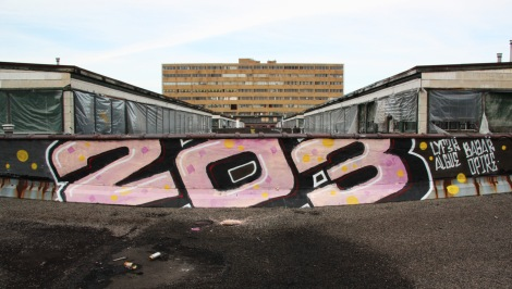 Rooftop piece by the 203 Crew featuring Lyfer, Algue, Babar and Opire at the abandoned Transco