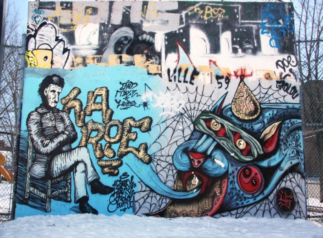 Hary (bottom left) and unidentified artist (bottom right) near the PSC legal graffiti wall
