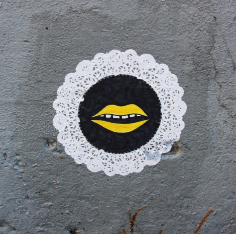 doilie paste-up by unidentified artist