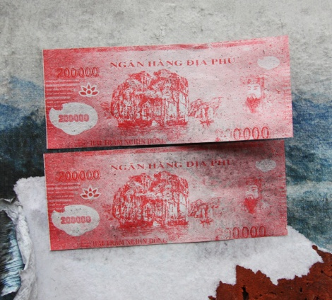 mock-currency paste-ups by unidentified person, found in Plateau End