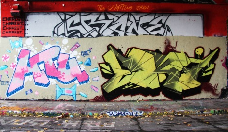 Chef (left) and EK7 (right) at the Halloween jam at the Rouen legal graffiti tunnel