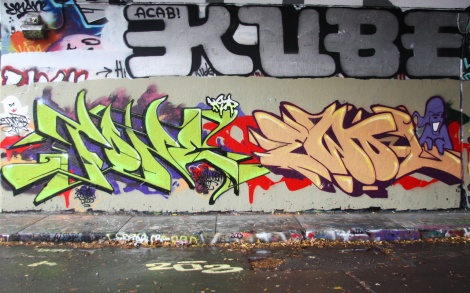 F.One (left) and Ewol (right) at the Halloween jam at the Rouen legal graffiti tunnel