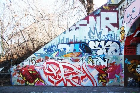 Dre (bottom centre) at the Rouen legal graffiti tunnel