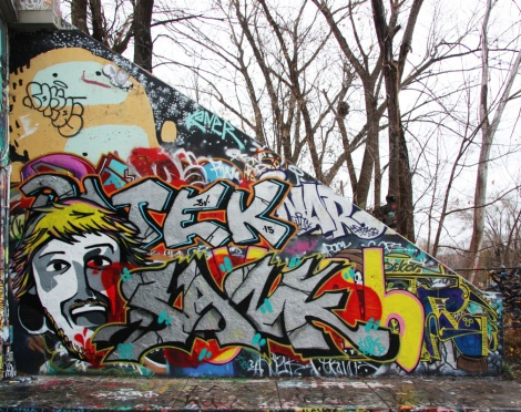 Sank and the remains of many older pieces at the Rouen legal graffiti tunnel