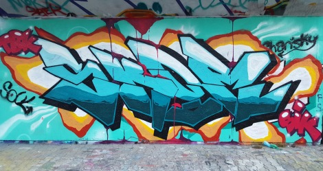 Skor at the PSC legal graffiti wall; photo © Skor