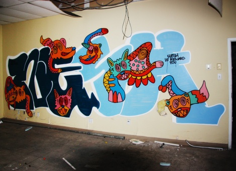 Wesh (letters) and Le Renard Fou (creatures) in the abandoned Transco