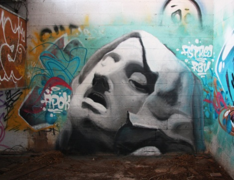 piece by Apok at the abandoned Montreal Hippodrome