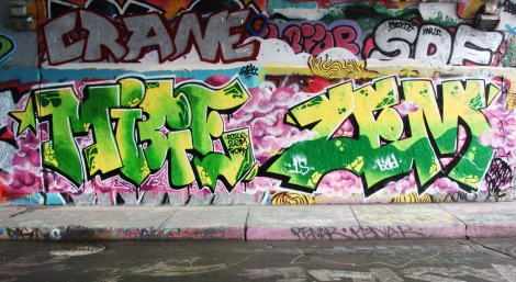 Micer and Zem at the Rouen legal graffiti wall; above left is Crane