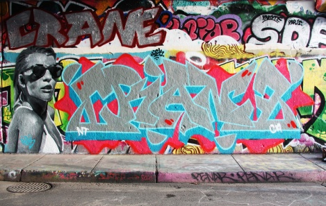 Rouks (left) and Crane (right and top left) at the Rouen legal graffiti wall