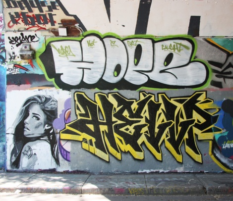 Rouks (bottom left), Hellp (bottom right), Hoper (top) at the Rouen legal graffiti tunnel