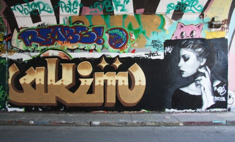 Akym (bottom left), Rouks (bottom right) and Reabs (top left) at the Rouen legal graffiti tunnel