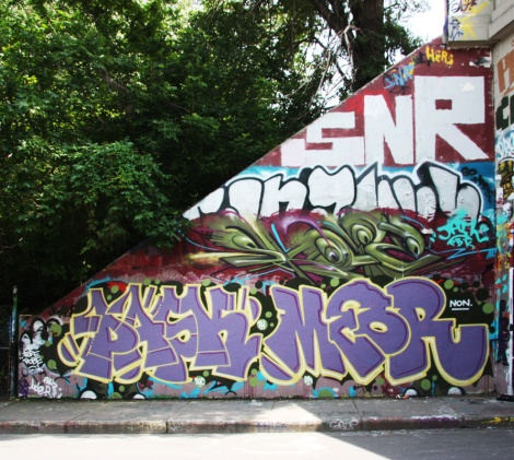 Pask (bottom left), Meor (bottom right), Skope (middle), Saner (top) at the Rouen legal graffiti tunnel