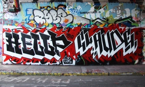 Hellp aka LP Montoya (left) and Claude (right) at the Rouen legal graffiti tunnel