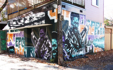 Two walls by Epos, Fler and Crak in a Plateau alley